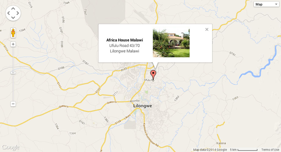 Our Location address map Africa House Malawi Luxury Guest